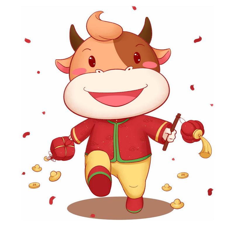 牛年卡通小牛打着灯笼快乐的走路5404563图片免抠素材 节日素材-第1张