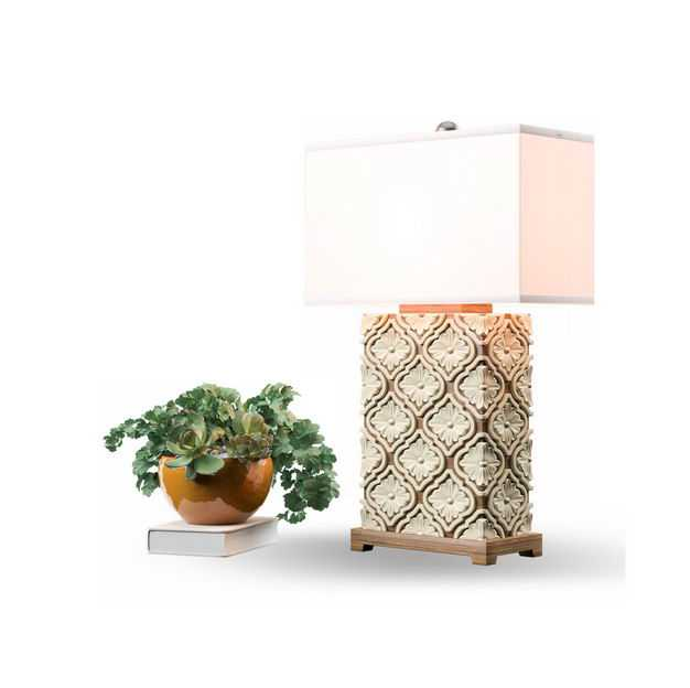 绿植盆栽植物和精美的台灯8701389免抠图片素材