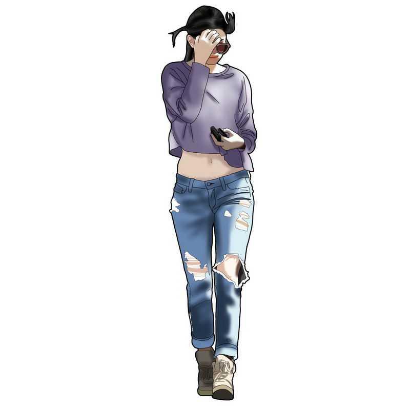 穿着破洞裤的性感身材大长腿腰细的美女2047520图片免抠素材