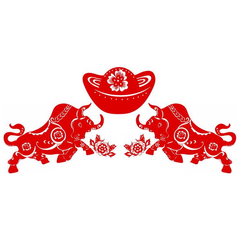 2021年牛年红色剪纸金牛和元宝图案2690648图片免抠素材 节日素材-第1张