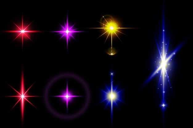 七款紫色黄色蓝色红色彩色光芒光线效果8752556免抠图片素材