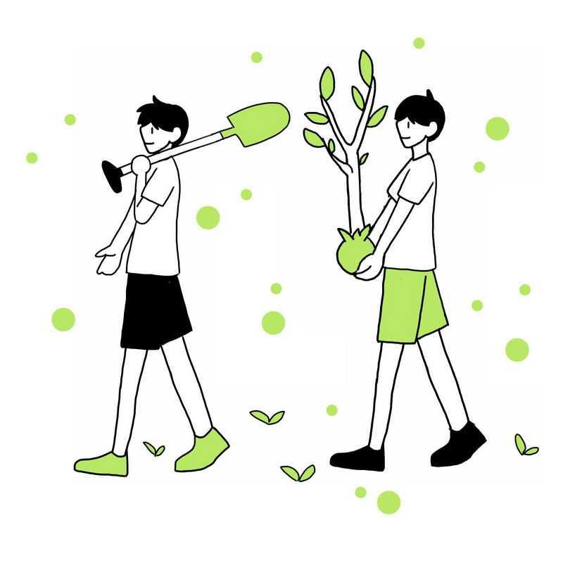 线条风格植树造林手绘植树节插画3528407图片免抠素材