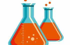 扁平化风格蓝色锥形瓶化学实验仪器插画9852147ai矢量图片免抠素材