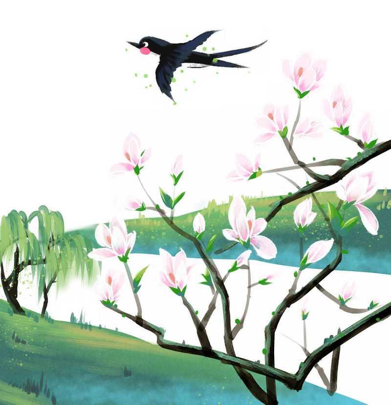 春天里盛开的桃花岸边的柳树和小燕子春意盎然风景画4937949图片免抠素材