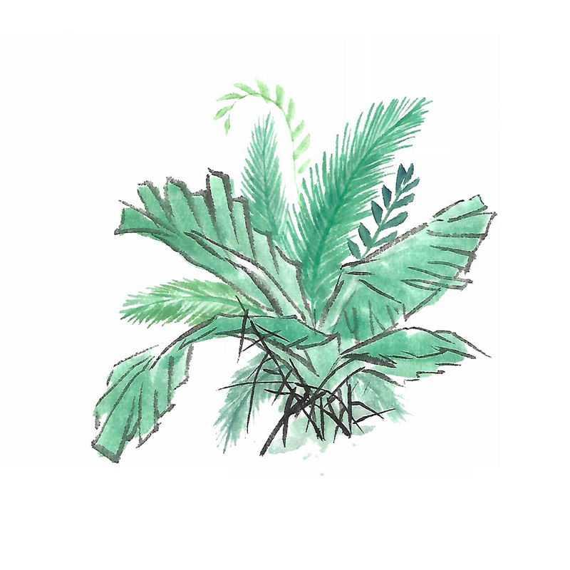 彩色水墨画风格绿叶树叶8338084图片免抠素材