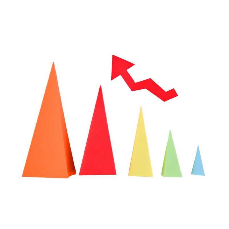 3D立体风格金字塔形红色箭头PPT信息图表2312531png图片免抠素材
