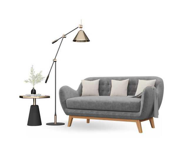 简约装修的台灯茶几和灰色布艺沙发三人沙发4143788免抠图片素材