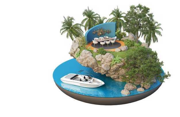 3D立体风格带游艇的旅游景点豪华餐厅装修效果图6116080免抠图片素材