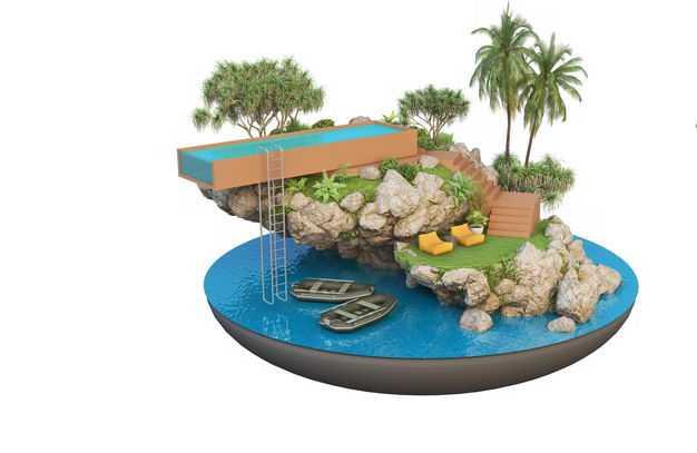 3D立体风格海边的游泳池游乐场水上世界旅游景点效果图1477434免抠图片素材