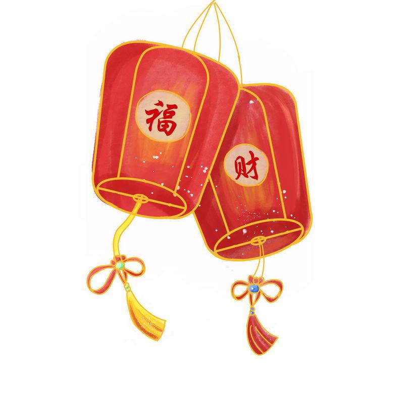 福字和财字大红灯笼新年春节插画5598712图片免抠素材 节日素材-第1张
