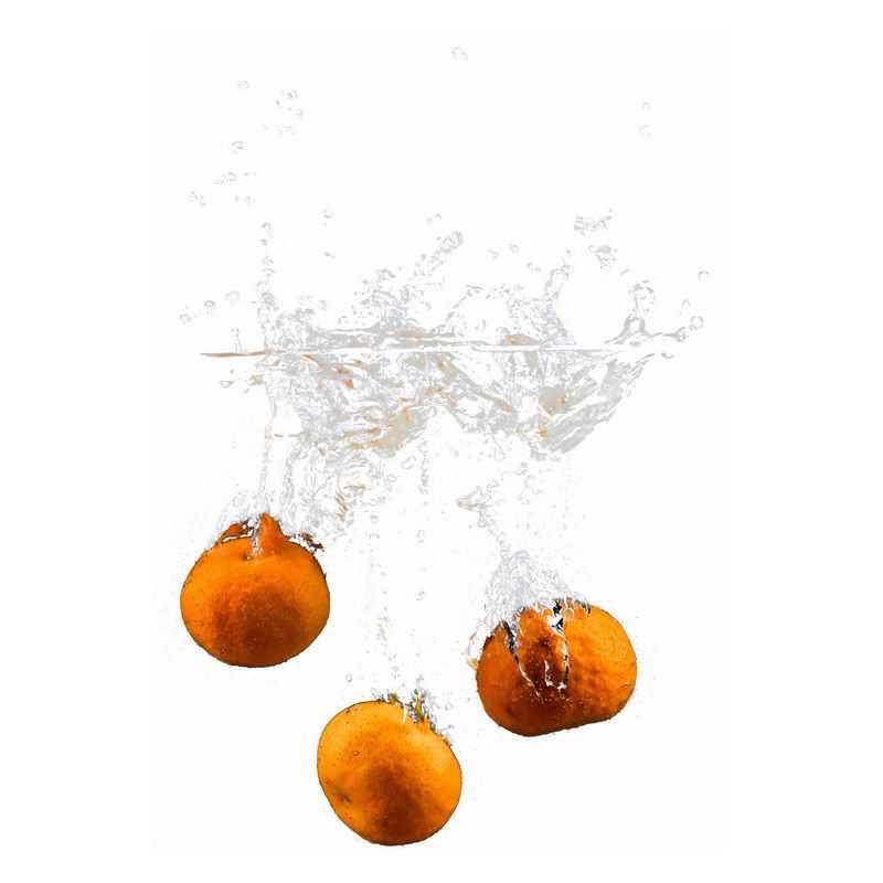 橘子掉落水中飞溅起来的半透明水花浪花水效果8475748png图片免抠素材
