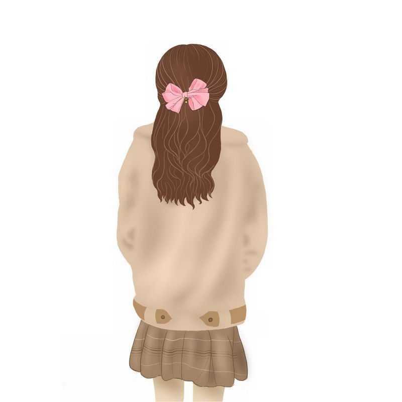 头发上扎了一朵花的女孩背影手绘插画5961055PSD图片免抠素材