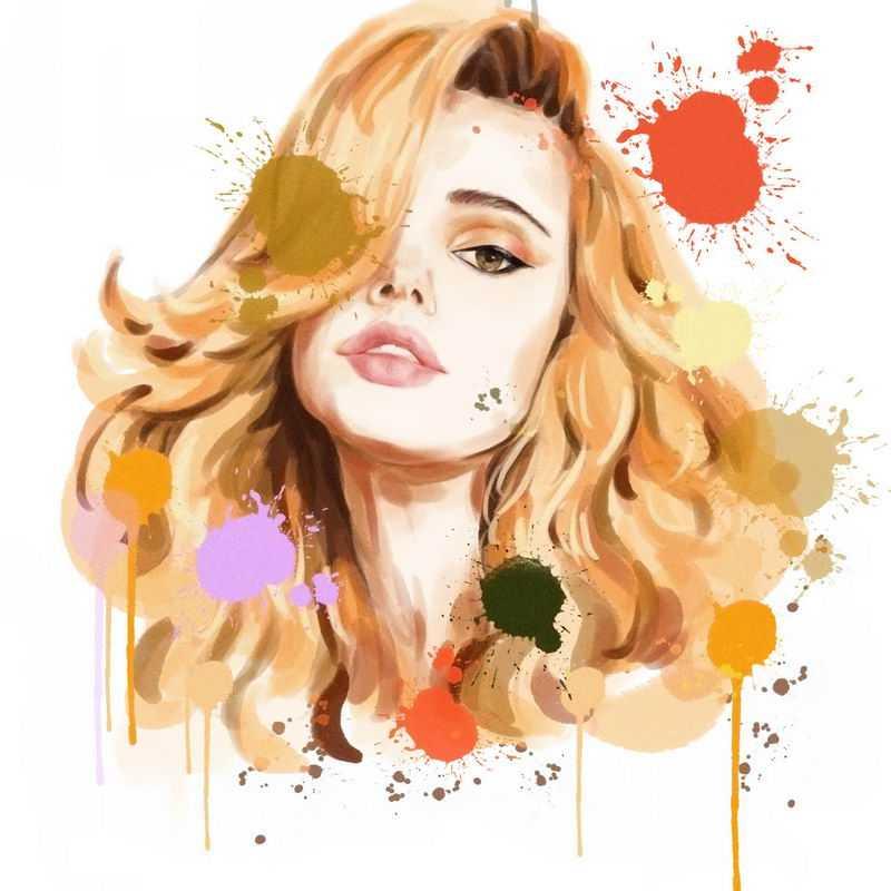泼墨风格抽象高傲金发美女头像4544142图片免抠素材