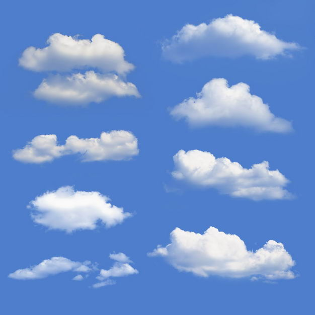八款云朵白云白色云彩浮云7625949免抠图片素材 漂浮元素-第1张