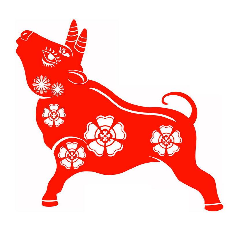 2021年牛年红色剪纸图案3740843图片免抠素材 节日素材-第1张