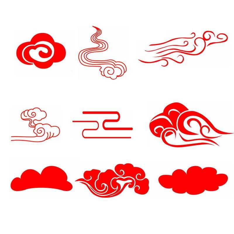 9款中国风红色剪纸祥云图案2364182图片免抠素材