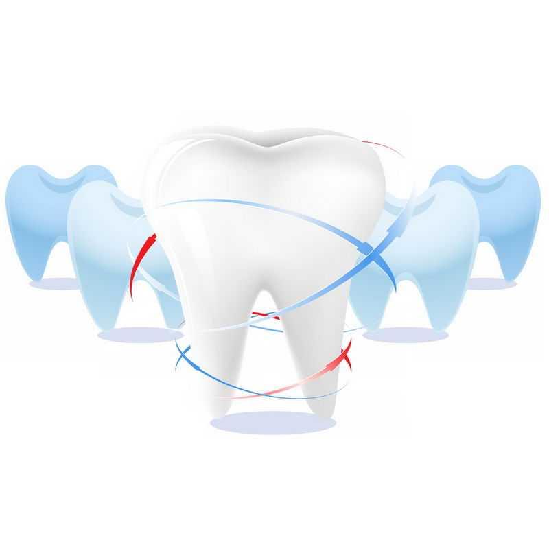 3D立体白色和蓝色的牙齿保健7348403图片免抠素材