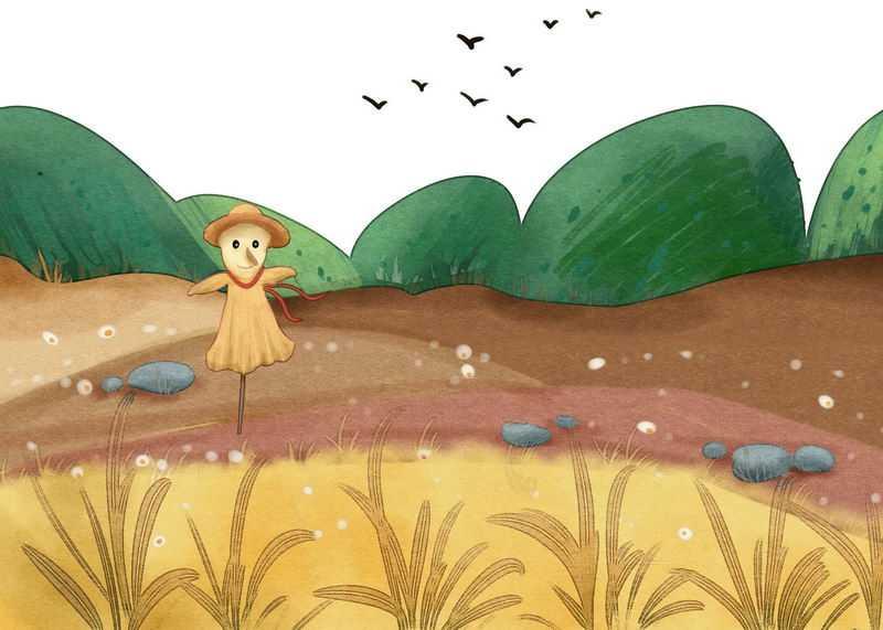 手绘风格农田里的稻草人和乡村田野的风光画7347934图片免抠素材
