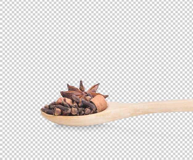 木头勺子上的八角桂皮各种调味料1465039免抠图片素材