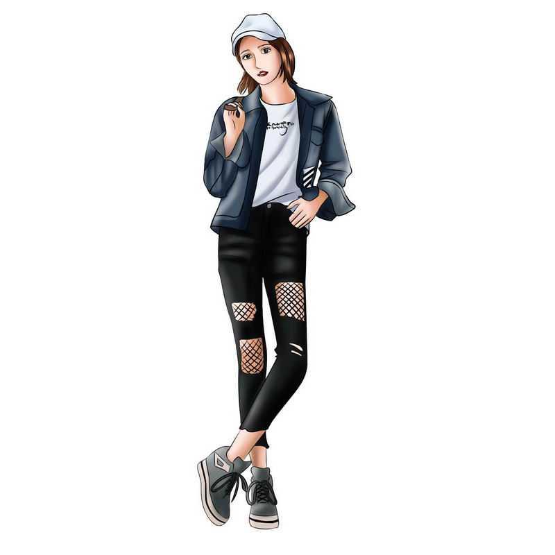 戴着帽子身穿夹克和紧身裤子的女孩手绘插画3429301PSD图片免抠素材