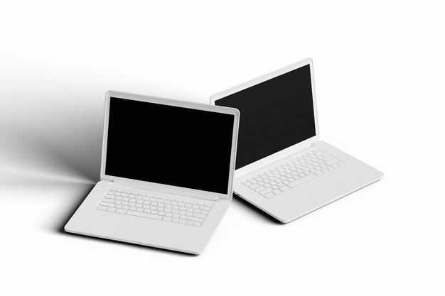两台3D立体白色笔记本电脑模型3914483免抠图片素材