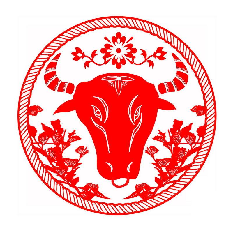 2021年牛年红色剪纸牛头图案6113165图片免抠素材 节日素材-第1张