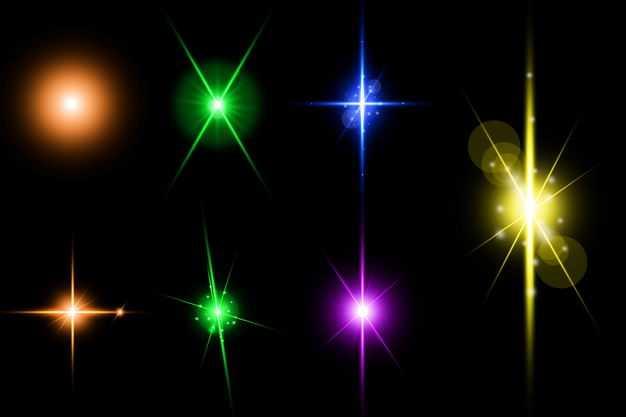 七款黄色橙色绿色蓝色红色光芒光线星光效果9793878免抠图片素材