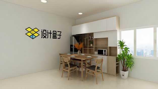 现代装修的餐厅墙壁上的文字LOGO显示样机2076219图片素材
