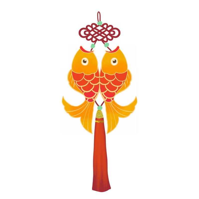 中国传统新年春节双鱼挂饰图案2111092图片免抠素材 节日素材-第1张