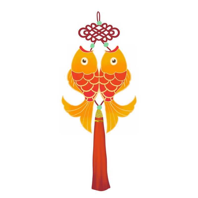 中国传统新年春节双鱼挂饰图案2111092图片免抠素材