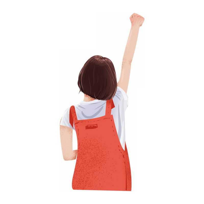 元气满满的女孩举手给自己鼓劲打气加油奥利给手势背影2088001PSD图片免抠素材