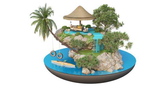 3D立体风格海边带皮划艇的旅游景点豪华别墅民宿装修效果图4306605免抠图片素材