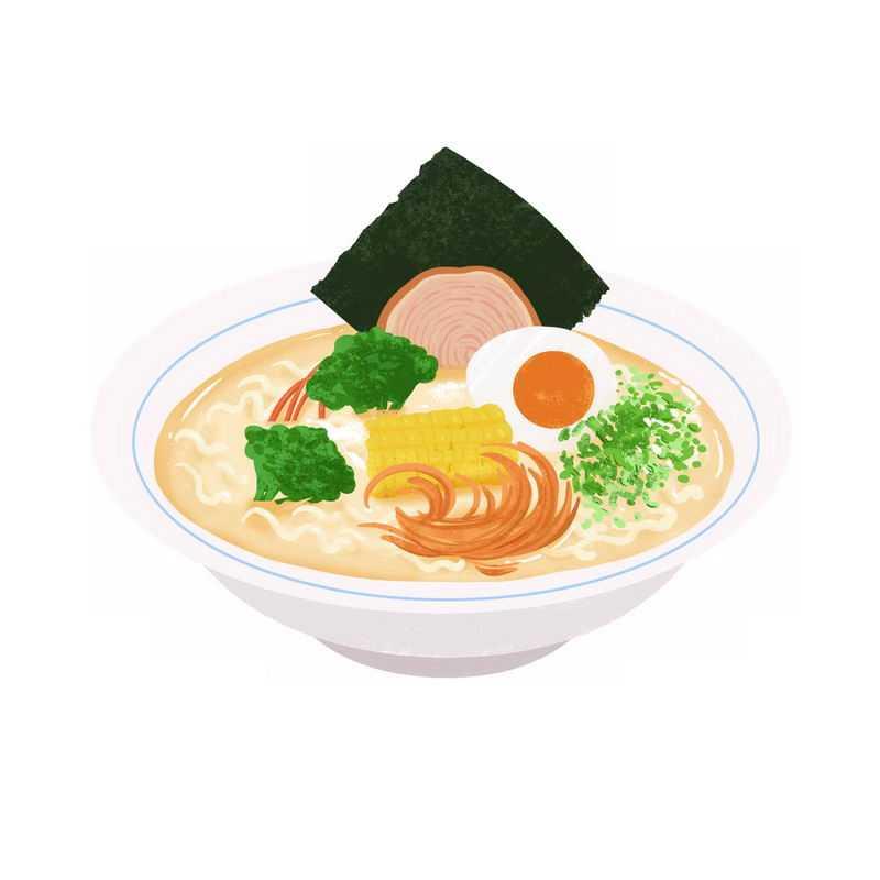 一碗美味的海鲜面手绘插画2758290图片免抠素材