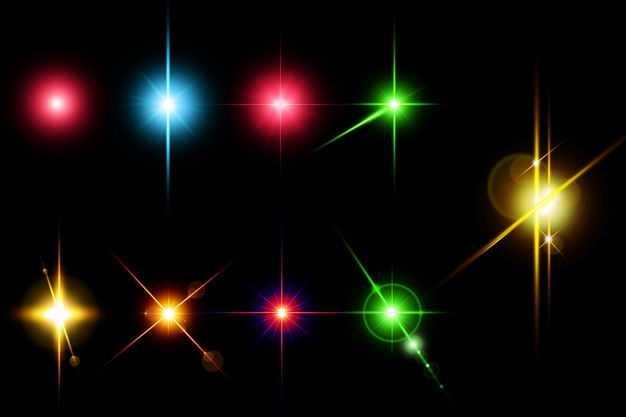九款蓝色红色黄色绿色光芒光线星光效果5675812免抠图片素材