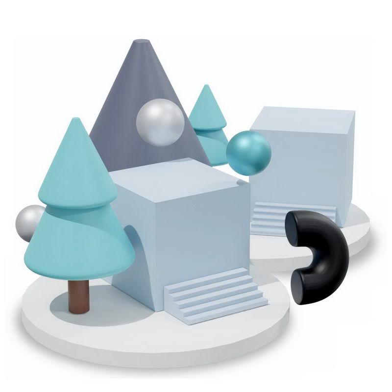 3D立体圆形平台上的方形树形球形等多边形4755748图片免抠素材 线条形状-第1张