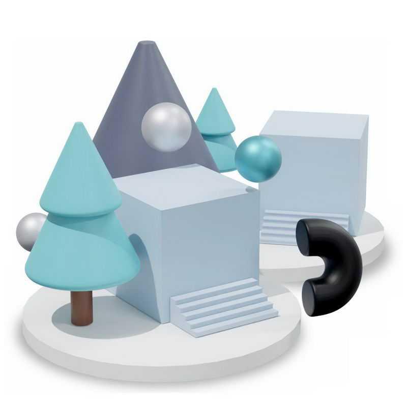 3D立体圆形平台上的方形树形球形等多边形4755748图片免抠素材