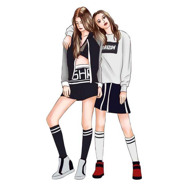 两个身穿运动装的健美女孩勾肩搭背好闺蜜3338594PSD图片免抠素材
