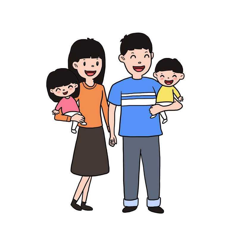 快乐的卡通一家四口手绘插画6840817图片免抠素材
