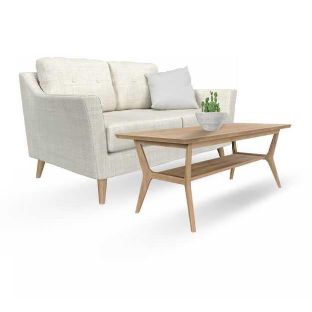 简约风格米白色灰色双人沙发布艺沙发和木制茶几5808703免抠图片素材