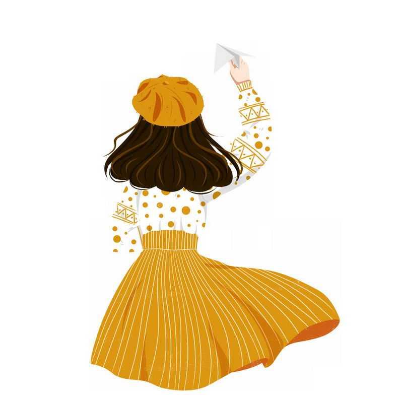 身穿黄色斑点衣服和黄色裙子的女孩扔纸飞机背影手绘插画8529926PSD图片免抠素材