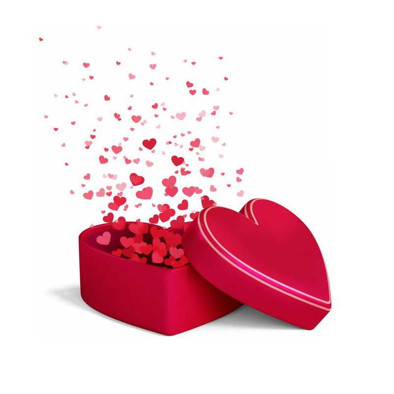 红色心情礼物盒中飞出的红心爱心情人节2354658图片免抠素材