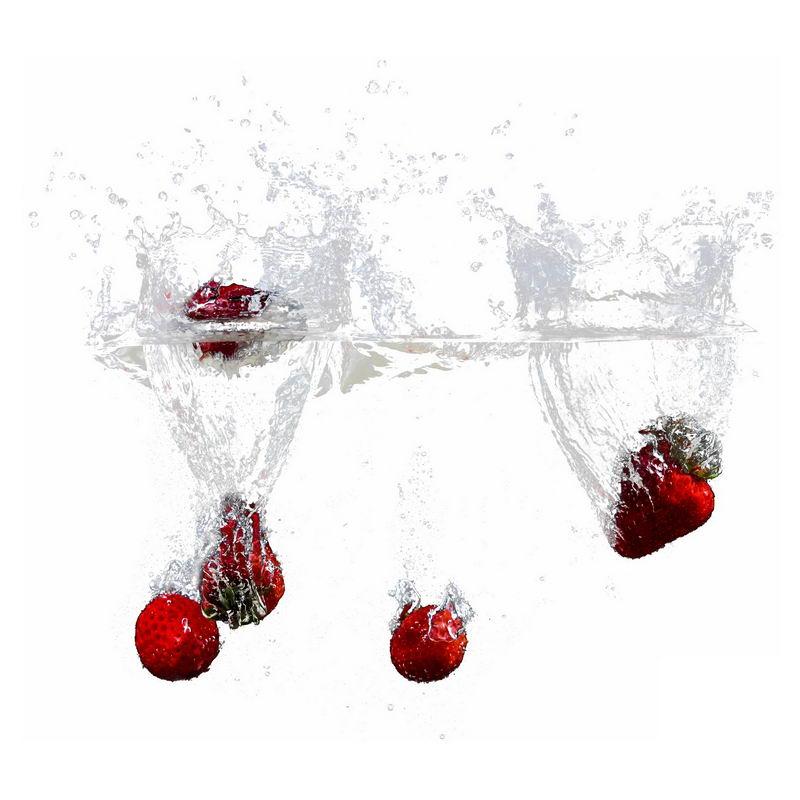 草莓掉落水中飞溅起来的半透明水花浪花水效果8279992png图片免抠素材 效果元素-第1张
