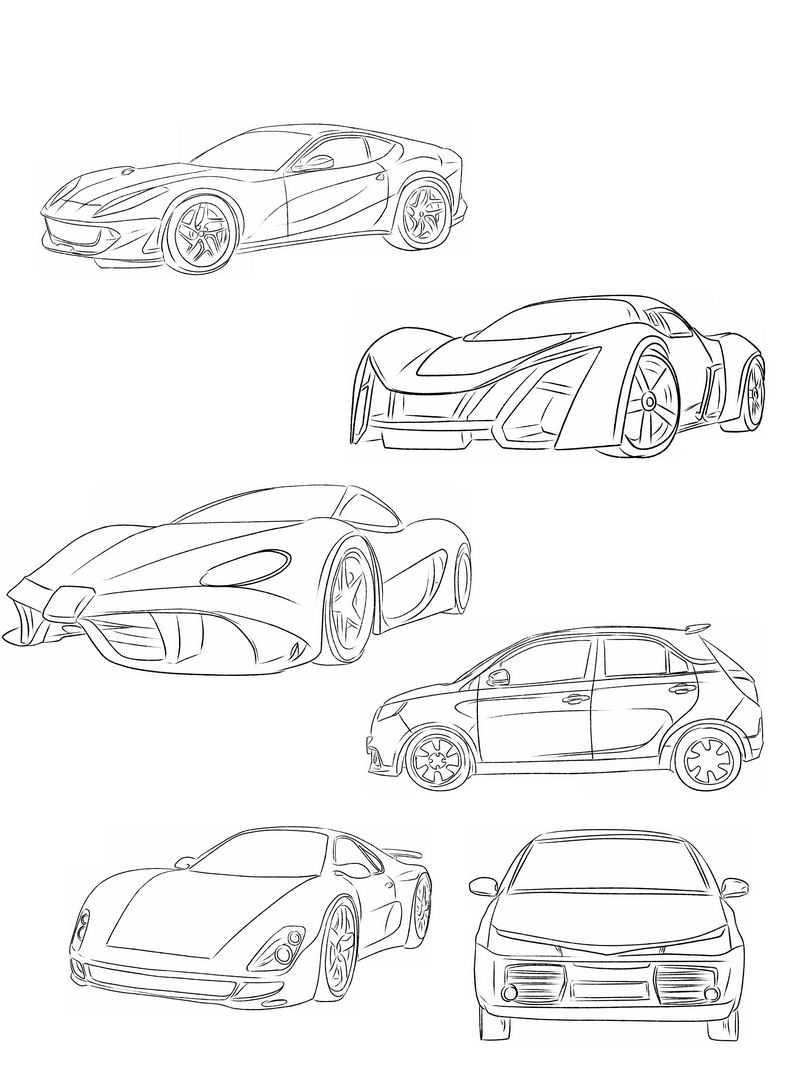 6款线条风格手绘铅笔汽车跑车插画9469331图片免抠素材