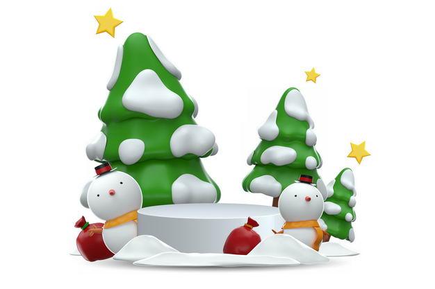 3D立体卡通圣诞树和雪人圣诞节装饰6668573免抠图片素材 生物自然-第1张