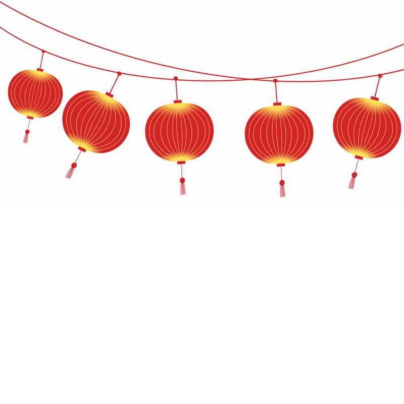 吊着的一排大红灯笼装饰6965524图片免抠素材
