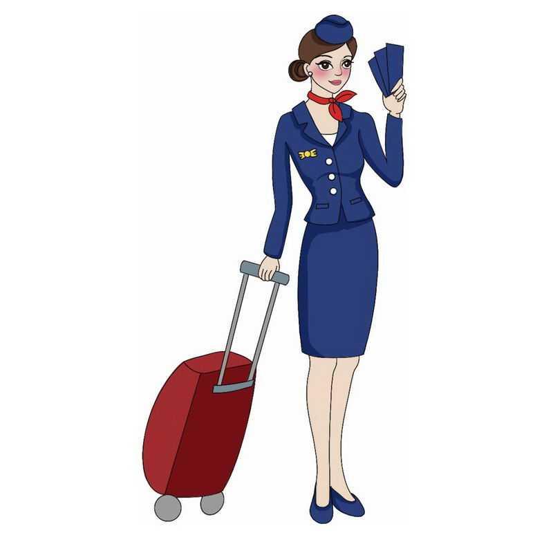 拖着行李箱的航空公司深蓝色制服卡通空姐空乘人员9777825png图片免抠素材