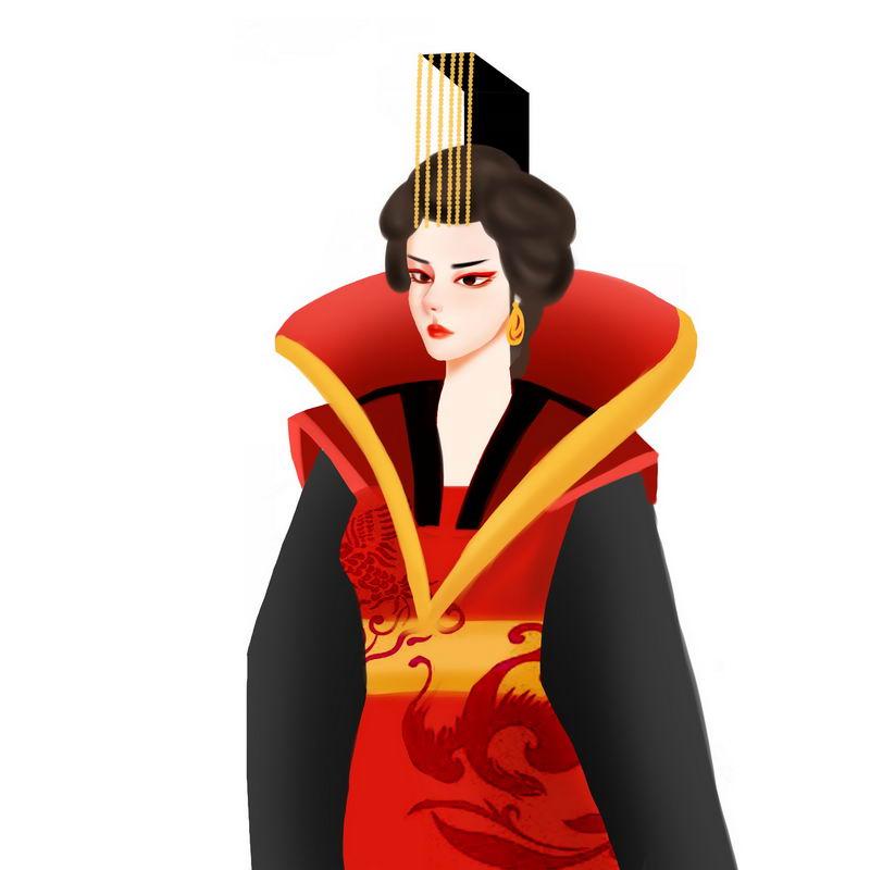 威严的女皇武则天手绘插画4223323图片免抠素材 人物素材-第1张