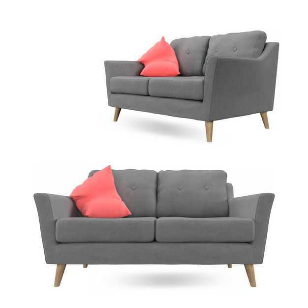 两个不同角度的简约风格灰色双人沙发布艺沙发3781325免抠图片素材