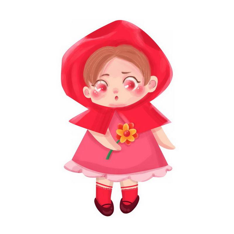 拿着鲜花的小红帽卡通小女孩童话人物插画3651290图片免扣素材 人物素材-第1张