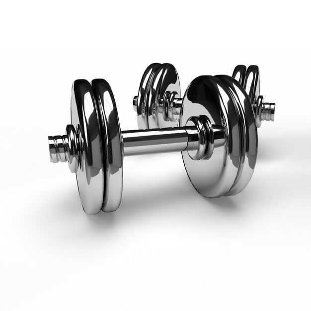 两个不锈钢金属电镀哑铃健身器材5041640免抠图片素材